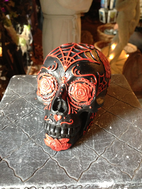 Black w/ Red Rose Day of the Dead Skull